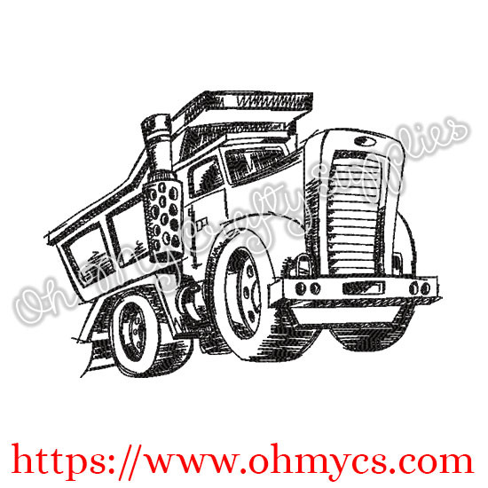 Sketch Mack Truck Embroidery Design