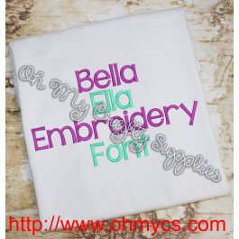 Bella Ella Embroidery Font Bx Included