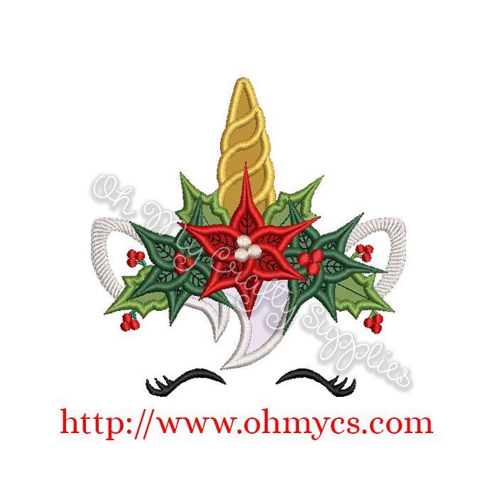 Christmas Unicorn.Christmas Crown Unicorn Applique Design