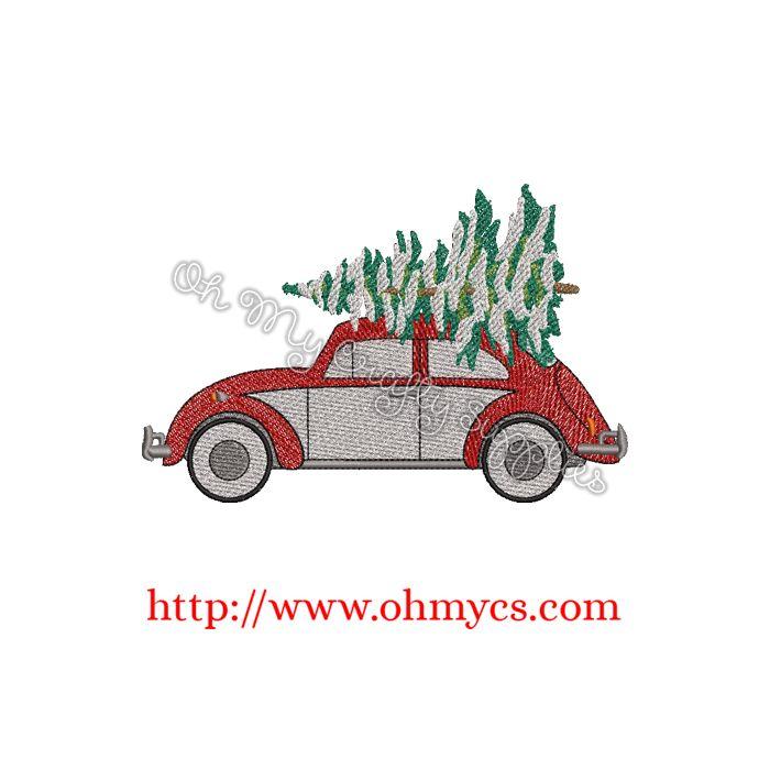 Car Christmas Tree.Christmas Tree Beetle Embroidery Design