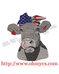 Fourth of July Cow Embroidery Design