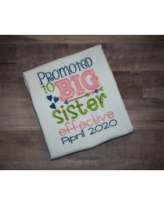 Promoted to Big Sister effective Applique Design