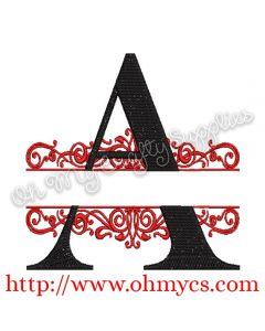 A-Z Split Letter Embroidery Design Set
