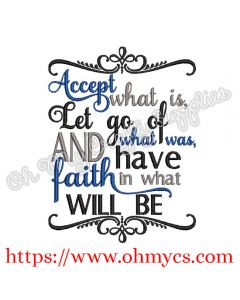 Accept Let Go Embroidery Design