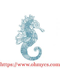 Another Henna Seahorse Embroidery Design