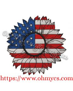 Watercolor American Sunflower Embroidery Design