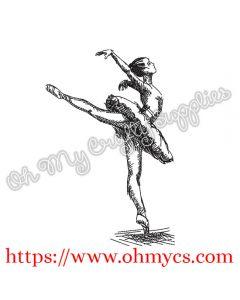 Ballerina Sketch Embroidery Design