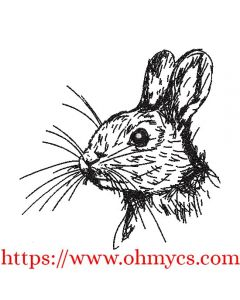Baby Bunny Rabbit Sketch Embroidery Design