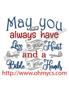 Bible in your Hands Embroidery Design