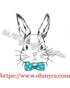 Sketch Boy Bunny with Bow Tie Embroidery Design
