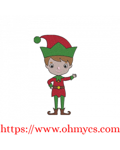 Jolly Christmas Boy Elf Embroidery Design