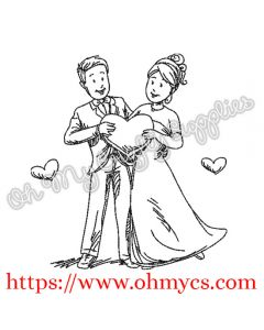Bride and Groom Sketch Embroidery Design