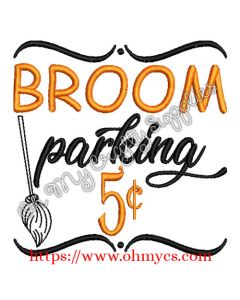 Broom Parking Embroidery Design
