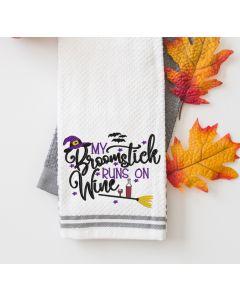 Broomstick Runs on Wine Embroidery Design
