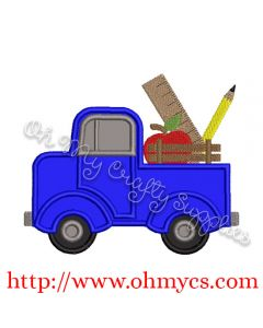 Back to School Vintage Truck Applique Design