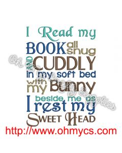 Bunny Story Book Embroidery Design