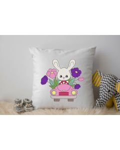 Easter Bunny in Car Embroidery Design