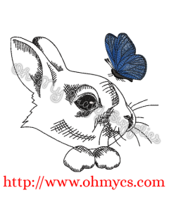 Bunny with Butterfly Sketch Embroidery Design