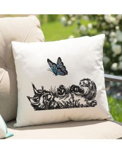 Butterfly Kitten embroidery Design