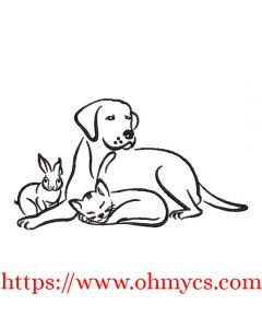 Bunny Cat Dog Embroidery Design
