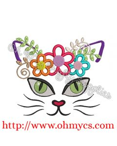 Kitty Cat Face with Flowers Applique
