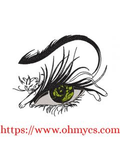 Cat's Eye Sketch Embroidery Design