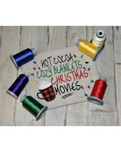 Cocoa Blanket Christmas Movies Embroidery Design
