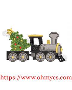 Christmas Tree Train Applique Design