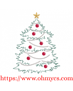 Christmas Tree Sketch Abstract Embroidery Design