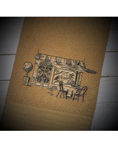 Coffee Shop Sketch Embroidery Design