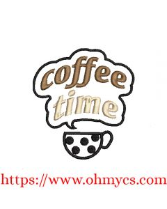 Coffee Time Saying Embroidery Design
