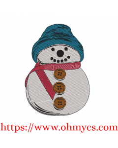 Happy Snowman Sketch in Color Embroidery Design