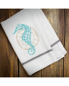 Colorful Seahorse Sketch 2 Embroidery Design