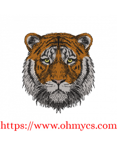 Colored Tiger Sketch Embroidery Design