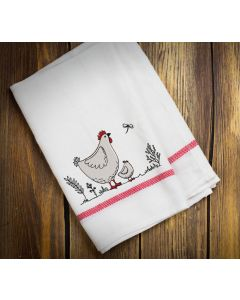 Country Hen and Chick Embroidery Design