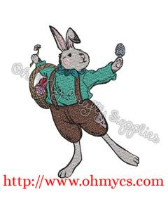 Country Easter Bunny Embroidery Design