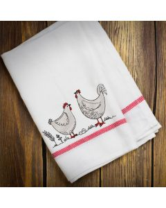 Country Hen and Rooster Embroidery Design