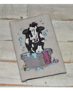 Dairy Cow in Washtub Embroidery Design