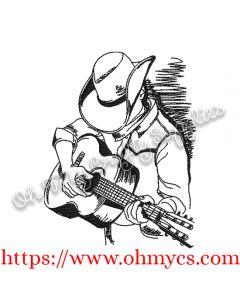 Guitar Western Cowboy Sketch Embroidery Design