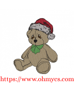 Cuddles Christmas Teddy Colored Sketch Embroidery Design