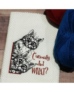 Curious Kittens Sketch Embroidery Design