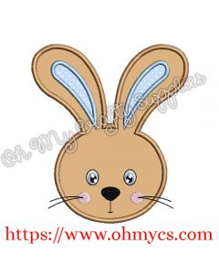 Cute Boy Easter Bunny Head Applique Design
