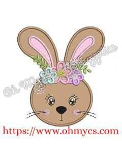 Cute Easter Bunny Head Applique Design