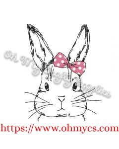 Sketch Cute Girl Bunny with Bow Embroidery Design