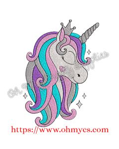 Cutie Solid Stitch Unicorn Embroidery Design