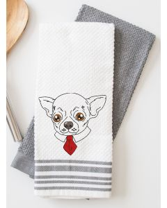 Chihuahua Drawing with Necktie Embroidery Design