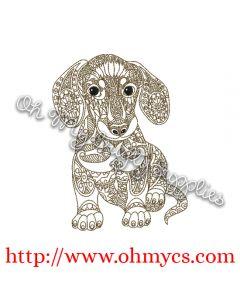Henna Dachshund Embroidery Design