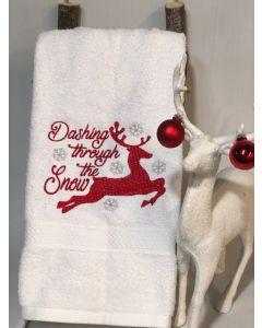 Dashing through the Snow Deer Embroidery Design