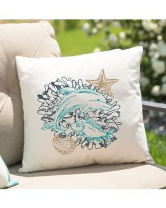 Colorful Dolphin Sketch Embroidery Design