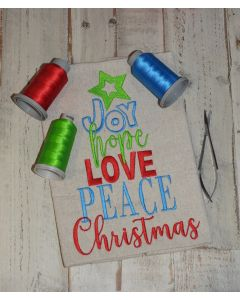 Joy Hope Love Peace Christmas Tree Embroidery Design